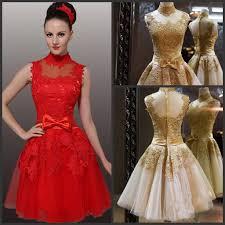 china short bridesmaid dress gold red lace bridal wedding dress