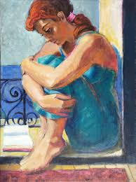first day of spring figurative woman painting sitting in window