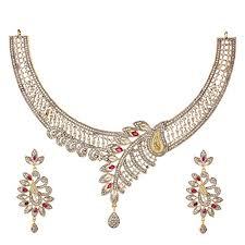 necklace jewellery set images Youbella jewellery american diamond gold plated necklace jewellery jpg