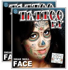 amazon com day of the dead sugar skull full face temporary tattoo