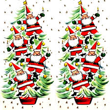 merry santa claus trees baubles candles