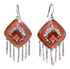 dangler earrings miriam salat burnt orange and sterling silver new resin drop