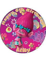 7 5 princess poppy trolls movie edible icing cake topper amazon