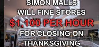 simon malls fines retailers for closing on thanksgiving