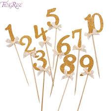 glitter cake topper fengrise 10pcs gold glitter cake topper number cupcake toppers
