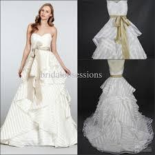 Buy Wedding Dress Discount Sweetheart Striped Organza Wedding Dress Sweep Train With