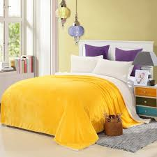 Yellow Grey And White Bedding Purple Wooden Insulation Brown Wooden Bed Purple Pattern Flower