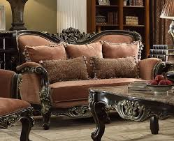 Old World Living Room Furniture by Old World Winged Ash Brown Loveseat With Ebony Ornate Frame