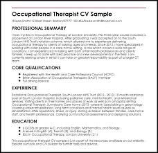 occupational therapy resumes occupational therapist sle