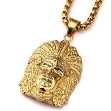 aliexpress buy nyuk new fashion american style gold nyuk new gold tone american indian chief portrait