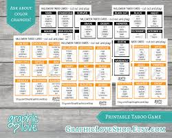 Printable Halloween Bingo Cards by Halloween Fall Taboo Game 54 Cards Scary Fun Horror Party