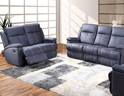 canapé électrique canapé 2 places relax électrique en tissu bleu pomelo canapé 2