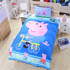 Boys Duvet Cover Full Happy Peppa Pig Bedding Bicycle Bed Sheets Gift Bedding Set For