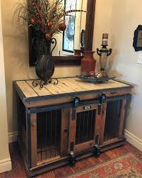 farmhouse style single dog kennel by kennel and crate barn door