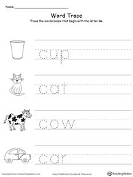 trace words that begin with letter sound c letter sounds