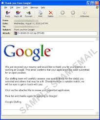 Resume For Google Job by Fake Google Job Application Mail With Worm Attachment Threat