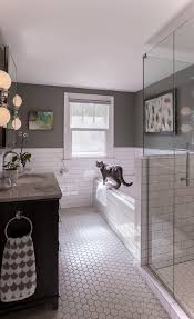black and white bathroom design white subway tile bathroom