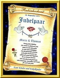 sprüche zur rubinhochzeit 40 hochzeitstag schöne glückwunschkarte in form einer urkunde