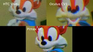 htc vive vs oculus rift cv1 vs pimax 4k screen door effect sde