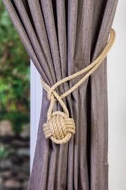 cotton monkey fist knot tie backs nautical curtain tiebacks