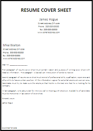 Exles Of Sheets by Cover Page For Resume Template Hallo