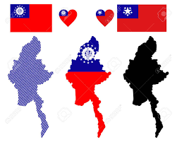 Flag Of Burma Map And Flag Of Myanmar Symbol On A White Background Royalty Free