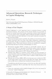 advanced operations research techniques in capital budgeting
