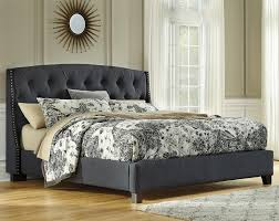 King Bed Frame Upholstered Kasidon Upholstered Bed In Gray With Tufting And