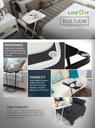 Latest C Shape Sofa Designs For Drawing Room Amazon Com Lifewit End Table Side Snack Coffee Sofa Table Modern
