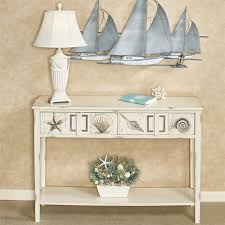 Ivory Console Table Caspian Cove Ivory Coastal Console Table With Drawers