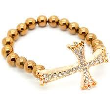 cross bracelet jewelry images Copper cross bracelet pearls n chains jpg