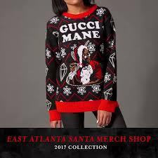 gucci mane sweater gucci mane on east atlanta santa merch drop https