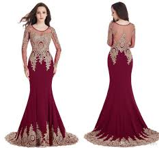 sheer mermaid long sleeves burgundy evening prom dresses 2017 gold