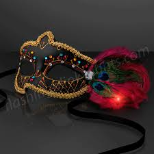 black mardi gras fancy black mardi gras mask with light up feathers at