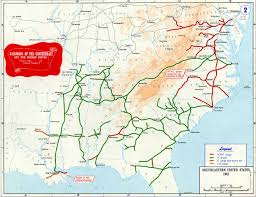 States Of America Map by Confederate States Of America Civil War Railroad Map
