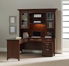 Office Desk Credenza Furniture L Shaped Brown Wooden Office Desks With Hutch And Lamp