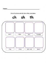 english worksheets ch sh and th words digraphs