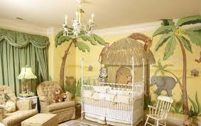 baby nursery jungle theme with white crib and green curtains Jungle Curtains For Nursery