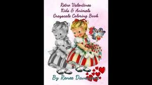 retro valentines retro valentines kids animals grayscale coloring book by renee