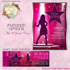Printable Party Invitation Cards Pop Star Party Invitation Diy Printable Party Invitation