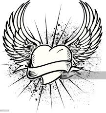 hearth tattoo winged heart tattoo design vector art getty images