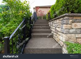 wrought iron wall planters outdoor stairs wrought iron black railings stock photo 454544275