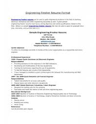 Resume Cover Letter Samples For Engineers by Fresher Resume Format For Mechanical Engineers It Resume Cover