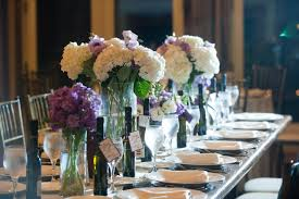 Purple Centerpieces Romantic Winery Wedding Outdoor Wedding Venues Ivory Centerpieces