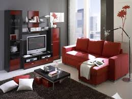 red and black coffee table living room red fabric sectional sofa black coffee table gray shag