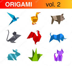 origami animals logo templates collection 2 bird duck dog