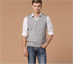 mens sweater vests autumn sale v neck mens casual plaid pattern sleeveless wool
