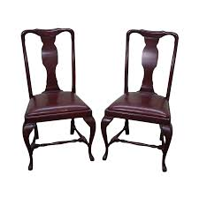 Pictures Of Queen Anne Chairs by Queen Anne Custom Quality Leather Seat Side Chairs A Pair Chairish