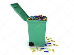 3d trash can full of musical notes u2014 stock photo imagerymajestic
