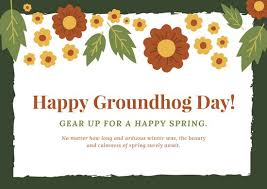 groundhog day cards green yellow and flowers illustration groundhog day card